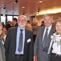 Silvano und Elisabeth Schaub (Garage Schaub AG, Peugeot/LeGarage, l.), Susi und Max Decommun (Hofgarage Decommun AG, Jaguar/Land Rover)